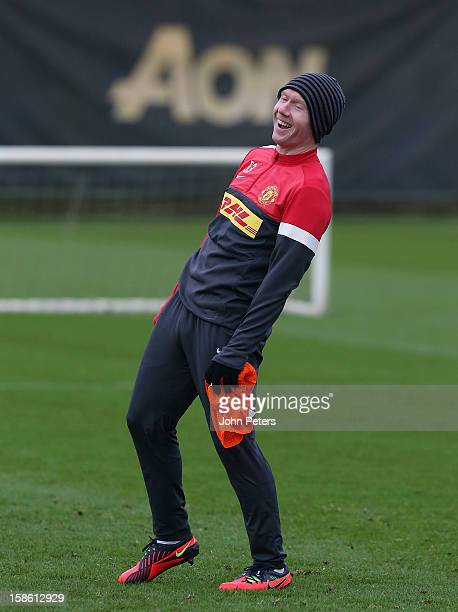 Paul Scholes of Manchester United in action during a first team training session at Carrington Training Ground on December 21, 2012 in Manchester,...