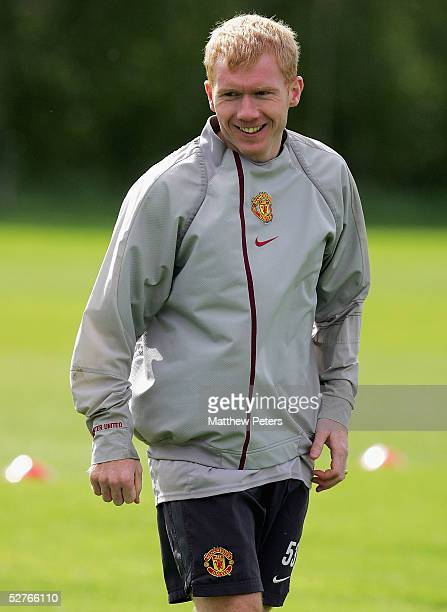 Paul Scholes of Manchester United in action during a first team training session at Carrington Training Ground on 6 May 2005 in Manchester England