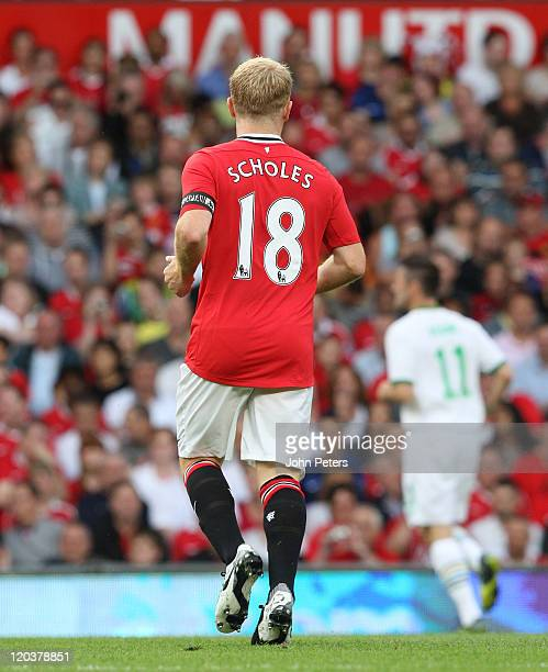 Paul Scholes of Manchester United in action during Paul Scholes' Testimonial match between Manchester United and New York Cosmos at Old Trafford on...