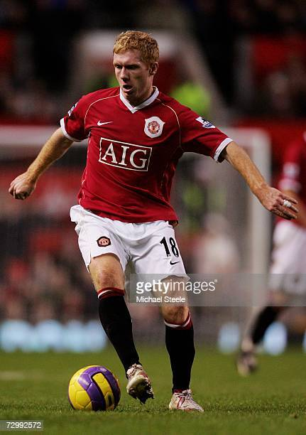 Paul Scholes of Manchester United in action during the Barclays Premiership match between Manchester United and Aston Villa at Old Trafford on...