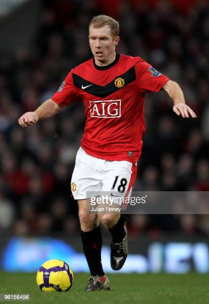 Paul Scholes of Manchester United in action during the Barclays Premier League match between Manchester United and Hull City at Old Trafford on...