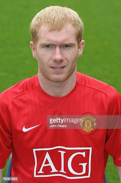 Paul Scholes of Manchester United poses during the club's official annual photocall at Old Trafford on August 28 2007 in Manchester England