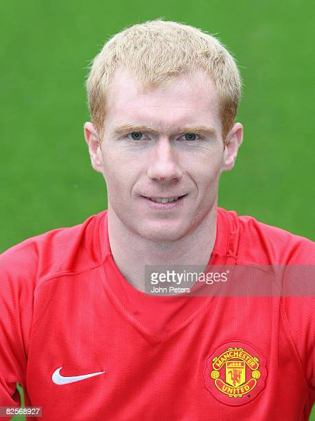 Paul Scholes of Manchester United poses during the club's official annual photocall at Old Trafford on August 27 2008 in Manchester England