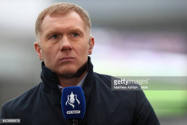 Paul Scholes performs media duties prior to the Emirates FA Cup Fifth Round match between Blackburn Rovers and Manchester United at Ewood Park on...