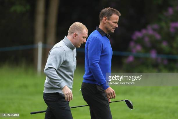 Paul Scholes walks with Teddy Sheringham during the Pro Am for the BMW PGA Championship at Wentworth on May 23 2018 in Virginia Water England