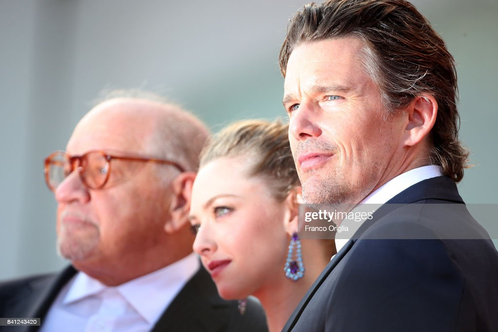 Paul Schrader, Amanda Seyfried and Ethan Hawke walk the red carpet ahead of the 'First Reformed' screening during the 74th Venice Film Festival at Sala Grande on August 31, 2017 in Venice, Italy.