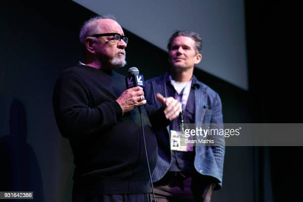 Paul Schrader and Ethan Hawke speak onstage at the premiere of 'First Reformed' during SXSW at Elysium on March 13 2018 in Austin Texas