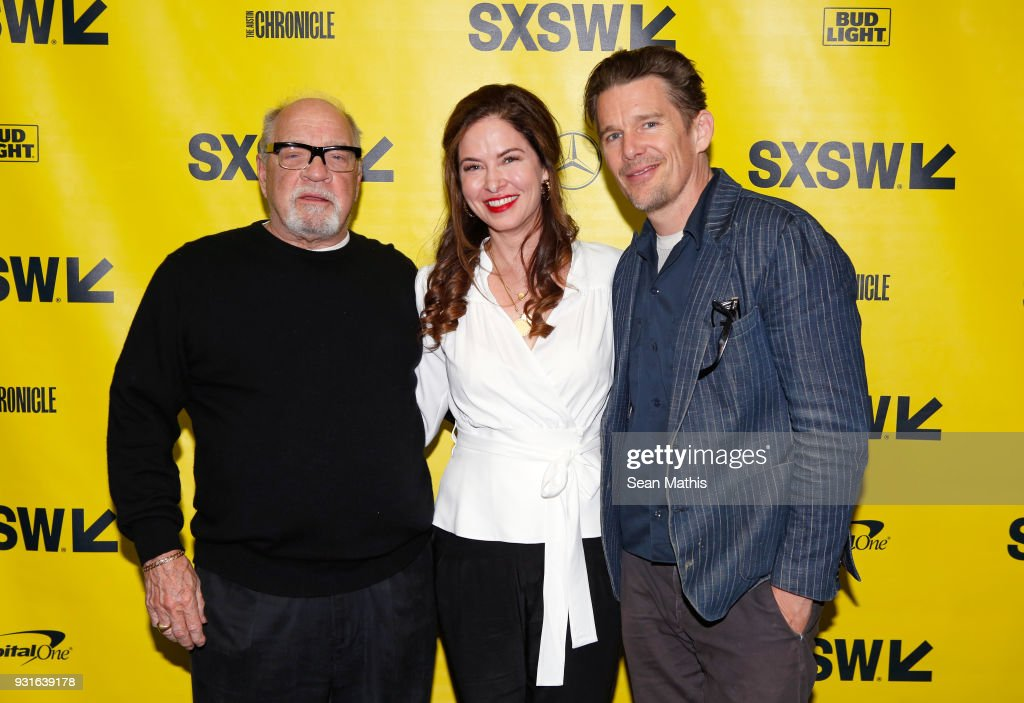 Paul Schrader, Victoria Hill, and Ethan Hawke attend the premiere of 'First Reformed' during SXSW at Elysium on March 13, 2018 in Austin, Texas.