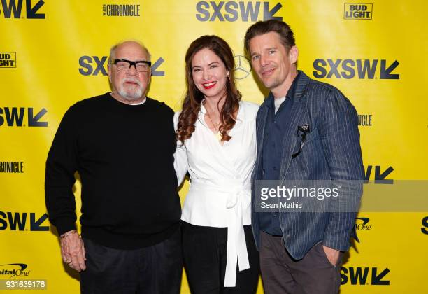 Paul Schrader Victoria Hill and Ethan Hawke attend the premiere of 'First Reformed' during SXSW at Elysium on March 13 2018 in Austin Texas