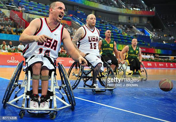 Paul Schulte of the US celebrates after scoring late in the game against Australia as Joe Chambers Brad Ness and Shaun Norris look on in their men's...