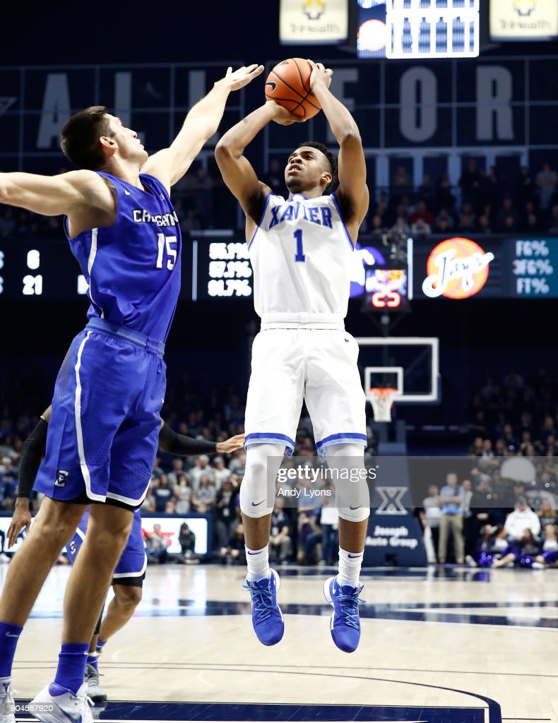 Paul Scruggs #1 of the Xavier Musketeers shoots the ball against the Creighton Bluejays at Cintas Center on January 13, 2018 in Cincinnati, Ohio.