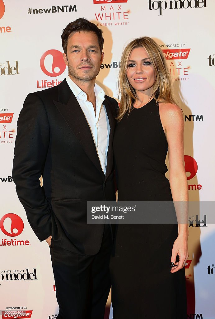 Paul Sculfor and Abbey Clancy attend Lifetime's launch of Britain's Next Top Model airing tonight at 9pm on Lifetime at Kensington Roof Gardens on January 14, 2016 in London, England.