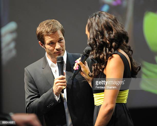 Paul Sculfor and Alesha Dixon attends photocall for the final of Next Supermodel Search Final at Old Billingsgate Market on July 31 2009 in London...
