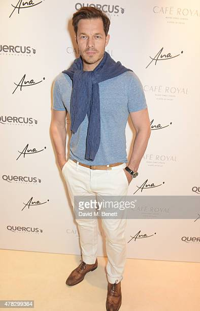 Paul Sculfor arrives at the Quercus Foundation PreWimbledon Cocktails with Ana Ivanovic in the Ten Room at Hotel Cafe Royal on June 24 2015 in London...