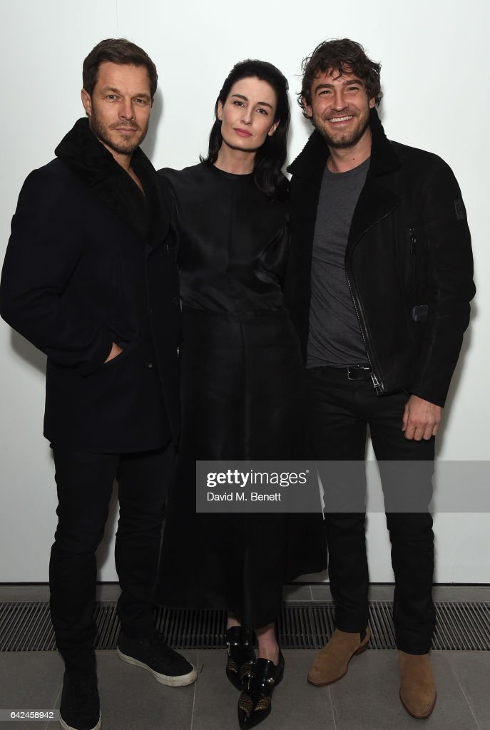 Paul Sculfor, Erin O'Connor and Robert Konjic attend the British Fashion Council Fashion Film x River Island film screening and cocktail party at The Serpentine Sackler Gallery on February 17, 2017 in London, England.