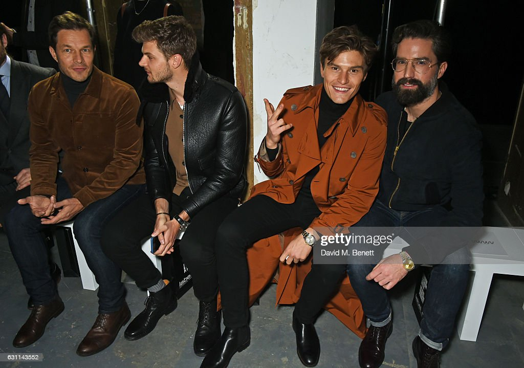 Paul Sculfor, Jim Chapman, Oliver Cheshire and Jack Guinness attend the What We Wear show during London Fashion Week Men's January 2017 collections at the BFC Show Space on January 7, 2017 in London, England.