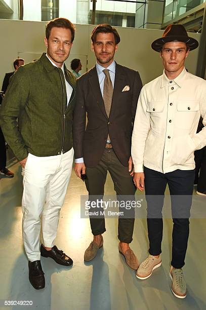 Paul Sculfor, Johannes Huebl and Oliver Cheshire attend the Oliver Spencer show during The London Collections Men SS17 at the BFC Show Space on June...