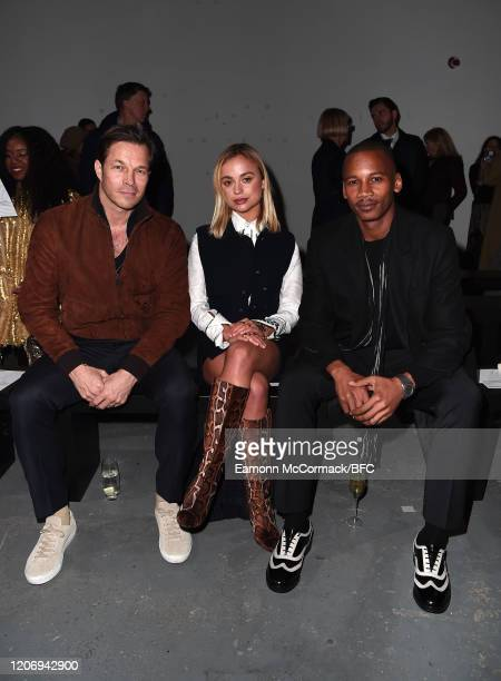 Paul Sculfor Lady Amelia Windsor and Eric Underwood attend The Woolmark Prize show during London Fashion Week February 2020 on February 17 2020 in...