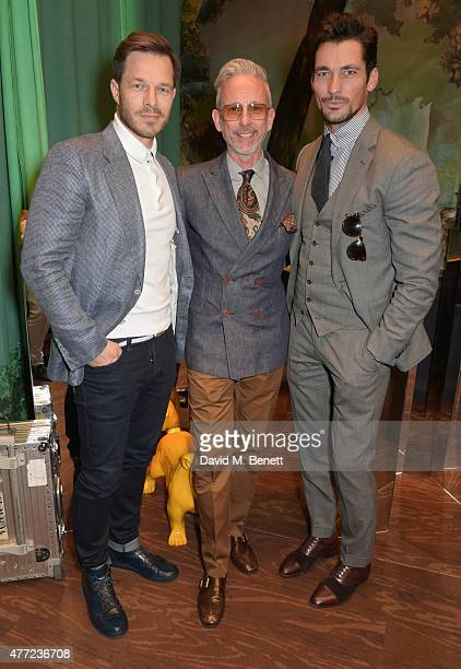 Paul Sculfor Patrick Cox and David Gandy attend the LATHBRIDGE by Patrick Cox presentation and official launch during London Collections Men SS16 at...