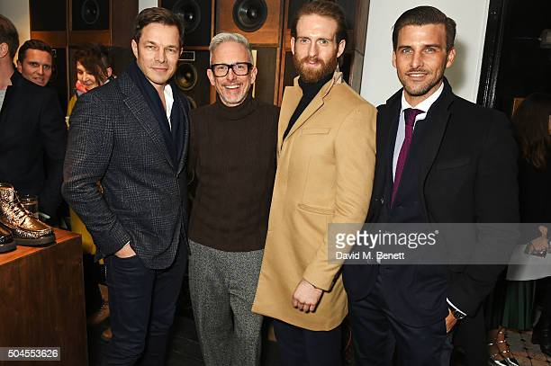 Paul Sculfor Patrick Cox Craig McGinlay and Johannes Huebl attend the LATHBRIDGE By Patrick Cox presentation during The London Collections Men AW16...