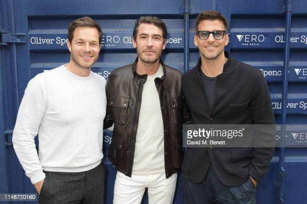 Paul Sculfor, Robert Konjic and Johannes Huebl attend the Oliver Spencer Menswear SS20 show during London Fashion Week Men's June 2019 on June 9,...