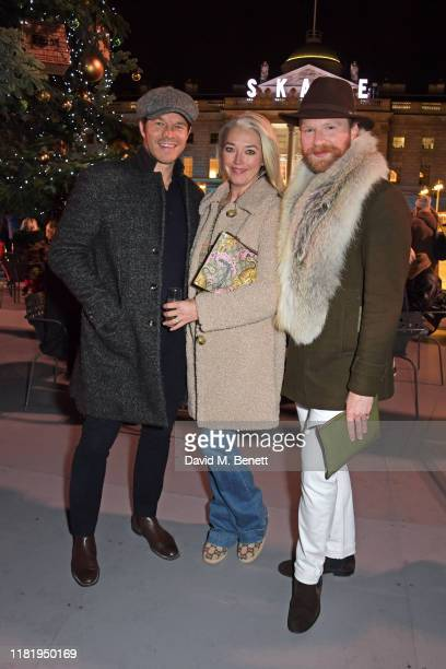 Paul Sculfor Tamara Beckwith and Henry Conway attend the opening party of Skate at Somerset House on November 12 2019 in London England Celebrating...
