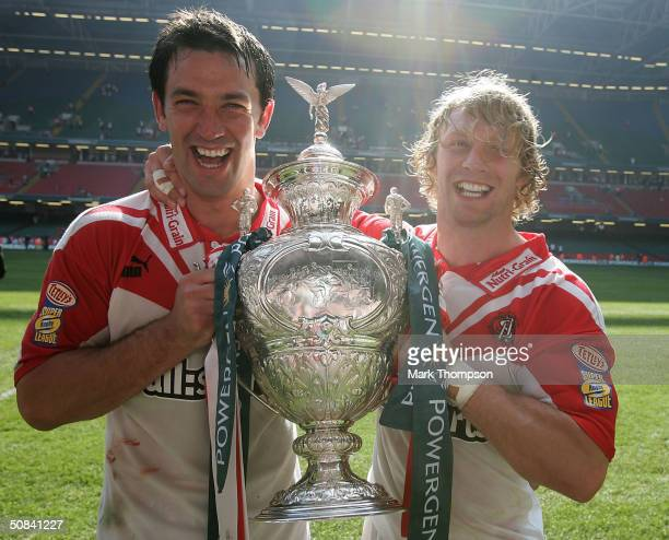 Paul Sculthorpe and Sean Long of St Helens celebrates winning the Powergen Challenge Cup Final match between St Helens and Wigan Warriors at...