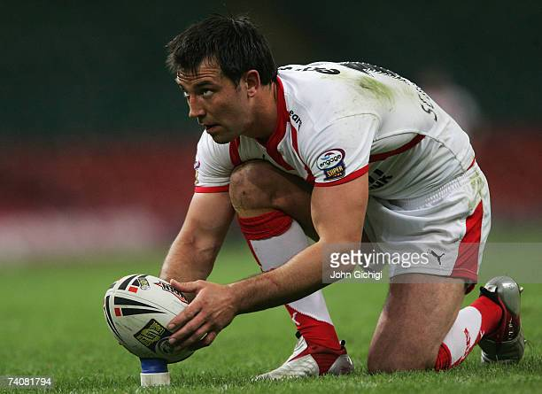Paul Sculthorpe of Saints lines up a kick on goal during the Engage Super League match between StHelens and Wigan Warriors at the Millennium Stadium...