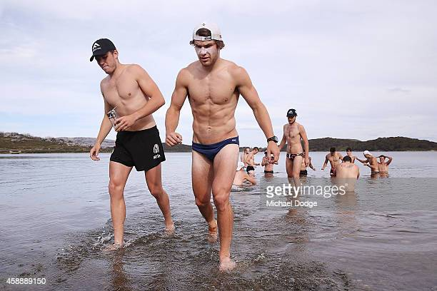 Paul Seedsman and Nathan Freeman take part in a recovery session during a Collingwood Magpies AFL Fitness Camp on November 14 2014 in Falls Creek...