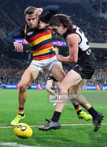 Paul Seedsman of the Crows competes with Darcy Byrne-Jones of Port Adelaide during the round eight AFL match between the Port Adelaide Power and the...