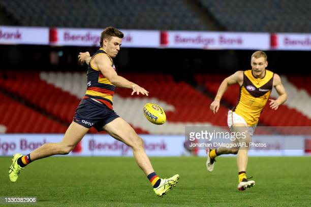 Paul Seedsman of the Crows in action during the round 20 AFL match between Adelaide Crows and Hawthorn Hawks at Marvel Stadium on July 24, 2021 in...