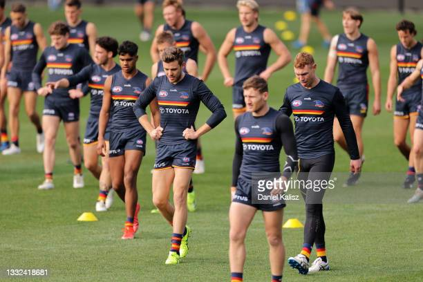 Paul Seedsman of the Crows looks on during an Adelaide Crows AFL training session at Adelaide Oval on August 05, 2021 in Adelaide, Australia.