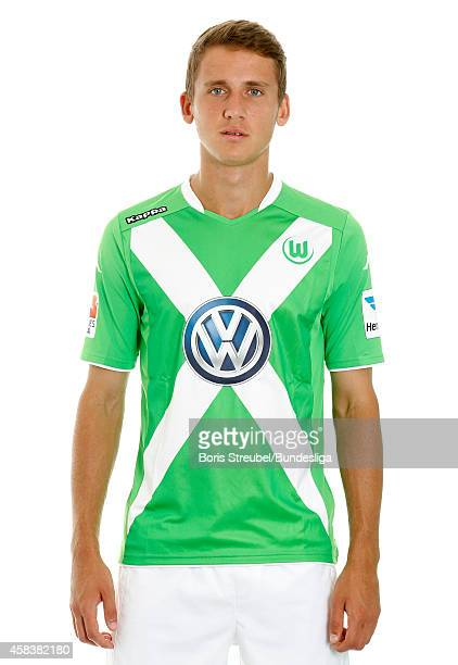 Paul Seguin of VfL Wolfsburg poses during the team presentation on July 30 2014 at Volkswagen Arena in Wolfsburg Germany