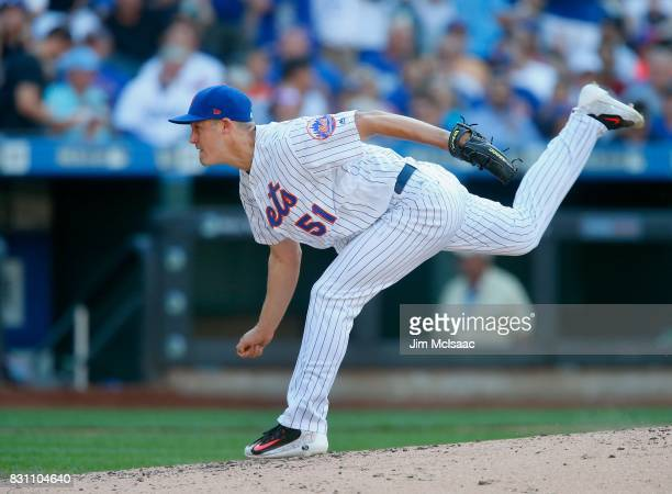 Paul Sewald of the New York Mets in action against the Los Angeles Dodgers at Citi Field on August 5 2017 in the Flushing neighborhood of the Queens...