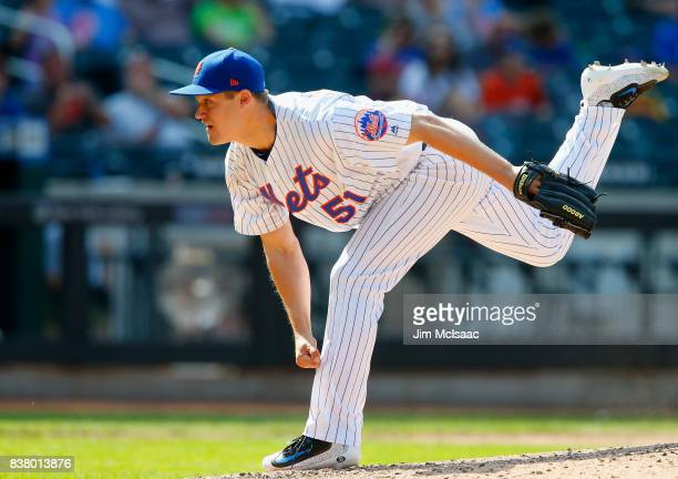 Paul Sewald of the New York Mets in action against the Miami Marlins at Citi Field on August 20 2017 in the Flushing neighborhood of the Queens...