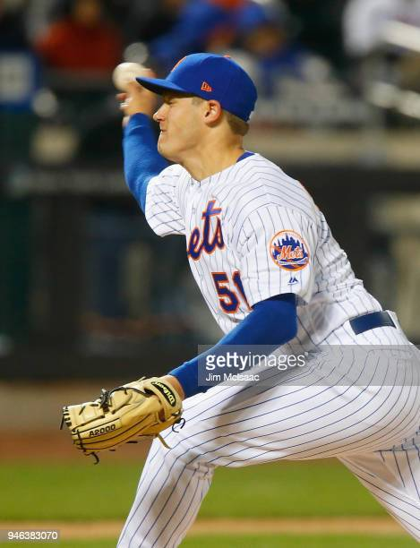 Paul Sewald of the New York Mets in action against the Milwaukee Brewers at Citi Field on April 14 2018 in the Flushing neighborhood of the Queens...