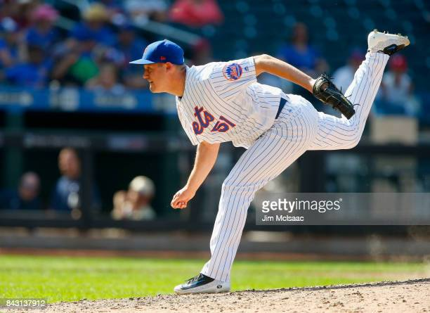 Paul Sewald of the New York Mets in action against the Philadelphia Phillies at Citi Field on September 4 2017 in the Flushing neighborhood of the...