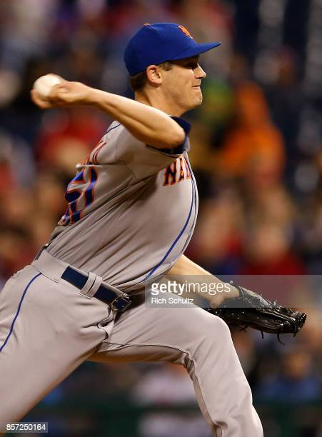 Paul Sewald of the New York Mets in action against the Philadelphia Phillies during the fifth inning of a game at Citizens Bank Park on September 30...