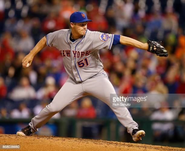 Paul Sewald of the New York Mets in action against the Philadelphia Phillies during a game at Citizens Bank Park on September 30 2017 in Philadelphia...