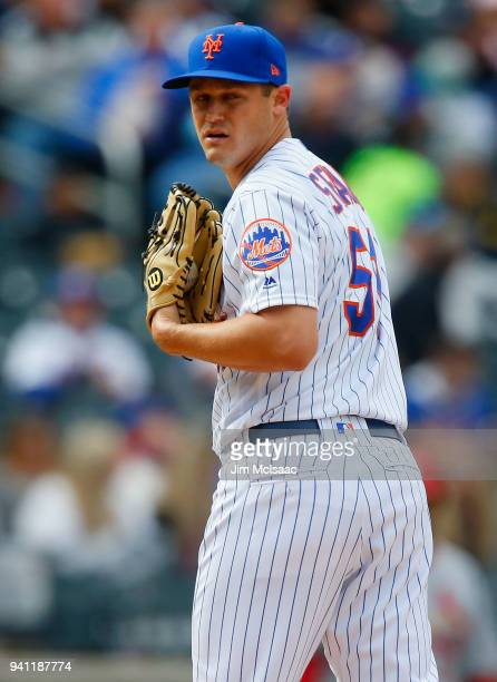 Paul Sewald of the New York Mets in action against the St Louis Cardinals at Citi Field on April 1 2018 in the Flushing neighborhood of the Queens...