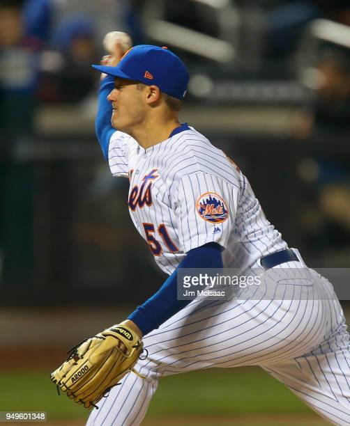 Paul Sewald of the New York Mets in action against the Washington Nationals at Citi Field on April 18 2018 in the Flushing neighborhood of the Queens...