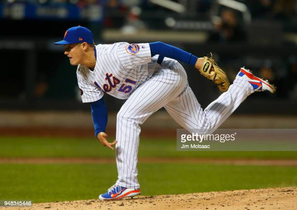 Paul Sewald of the New York Mets pitches in the fifth inning against the Washington Nationals at Citi Field on April 18 2018 in the Flushing...