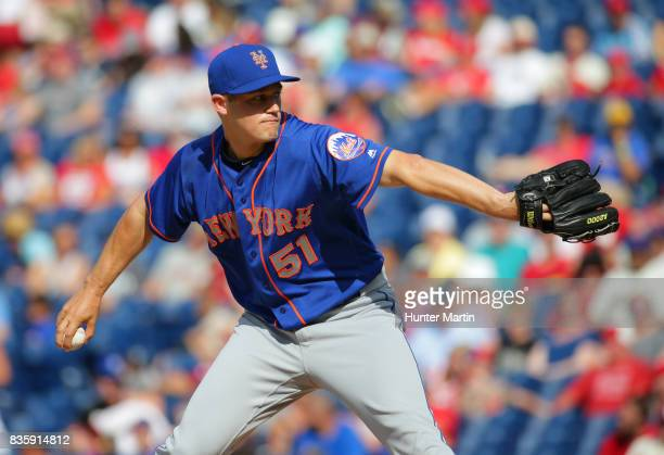 Paul Sewald of the New York Mets throws a pitch during a game against the Philadelphia Phillies at Citizens Bank Park on August 13 2017 in...