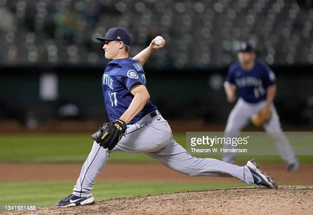 Paul Sewald of the Seattle Mariners pitches against the Oakland Athletics in the bottom of the eighth inning at RingCentral Coliseum on September 21,...