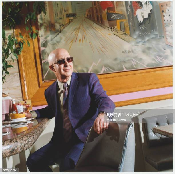 Paul Shaffer bandleader for David Letterman and CBS Orchestra sits at a restaurant counter