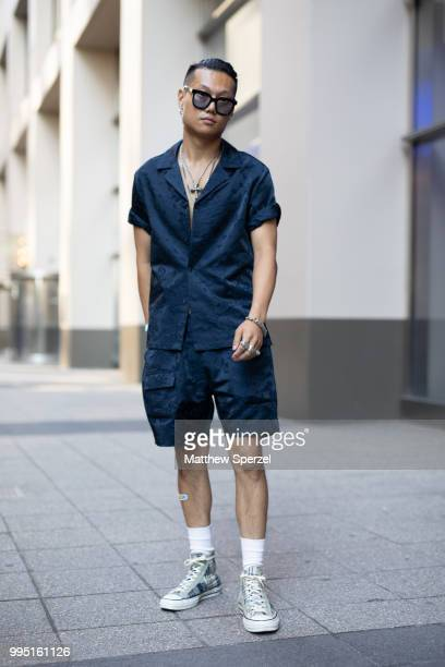 Paul Shin is seen on the street attending Men's New York Fashion Week wearing Private Neighbors on July 9 2018 in New York City