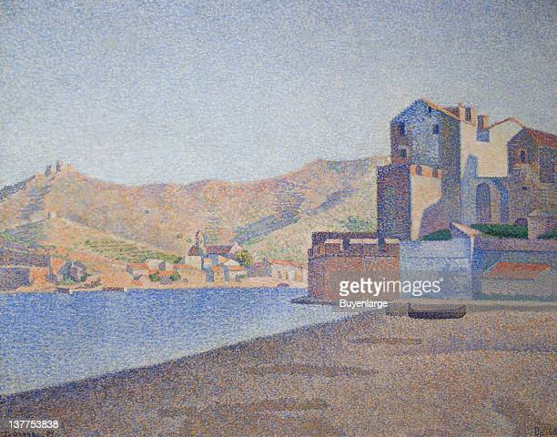Paul Signac's French Pointillism of a harbor city picture 1887