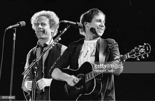 Paul Simon and Art Garfunkel perform live on stage at the Dodger Stadium in Los Angeles on August 27 1983