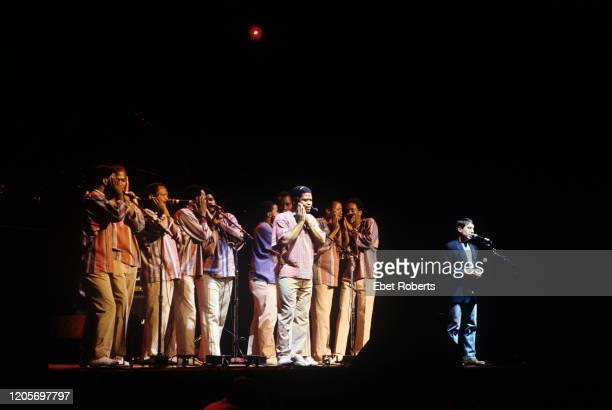 Paul Simon and Ladysmith Black Mambazo performing a benefit concert for the New York Children's Health Project at Madison Square Garden in New York...