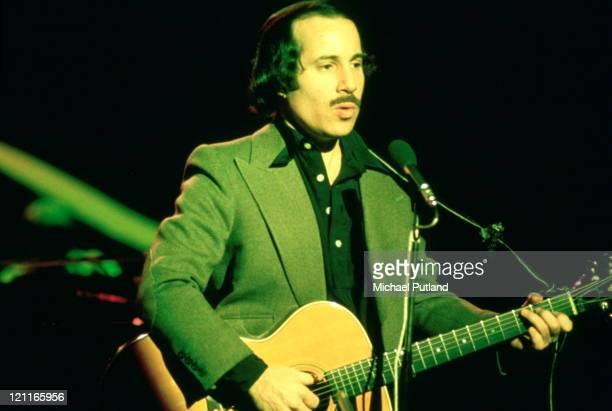 Paul Simon performing on stage Palladium Theatre London December 1975